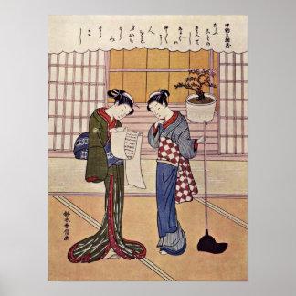 Two girls on a porch by Suzuki Harunobu Poster