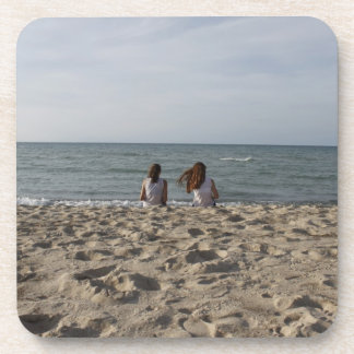 Two Girls on Beach Drink Coaster