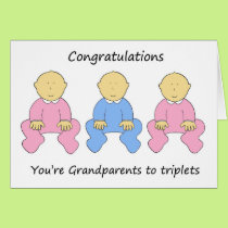 Two girls one boy triplets for new grandparents. card