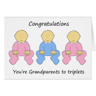 Two girls one boy triplets for new grandparents. greeting card