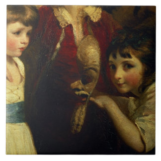 Two Girls, One Playing with a Mask, detail from th Ceramic Tile