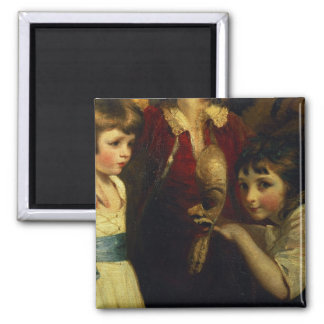 Two Girls, One Playing with a Mask, detail from th Magnet