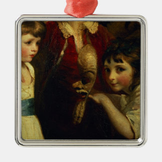 Two Girls, One Playing with a Mask, detail from th Metal Ornament