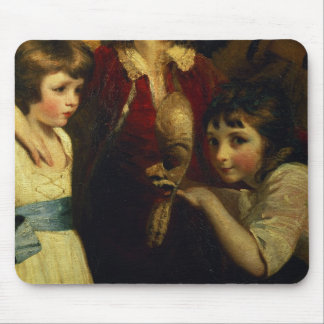 Two Girls, One Playing with a Mask, detail from th Mouse Pad