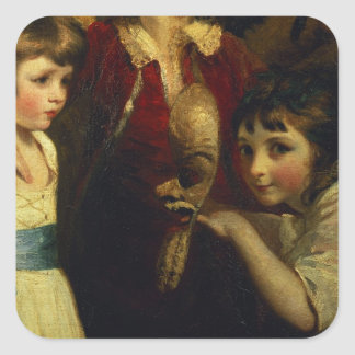 Two Girls, One Playing with a Mask, detail from th Square Sticker