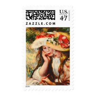 Two Girls Reading in a Garden Renoir Fine Art Postage