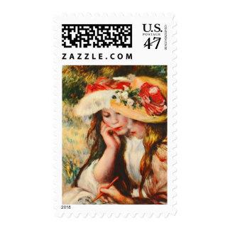 Two Girls Reading in a Garden Renoir Fine Art Stamp