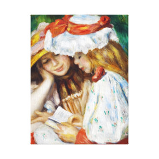 Two Girls Reading Pierre Auguste Renoir painting Canvas Print