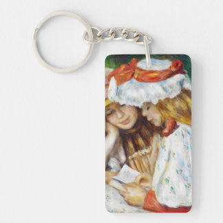 Two Girls Reading Pierre Auguste Renoir painting Keychain