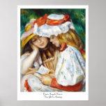 Two Girls Reading Pierre Auguste Renoir painting Print