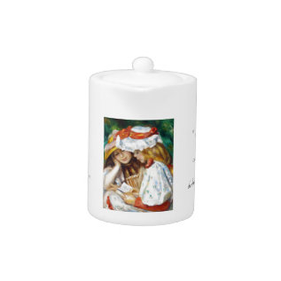 Two Girls Reading Pierre Auguste Renoir Painting Teapot at Zazzle