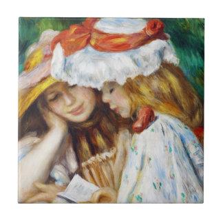 Two Girls Reading Pierre Auguste Renoir painting Tile