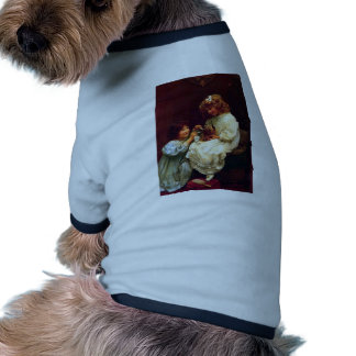 Two Girls Sisters Pet Dog Antique Painting Pet Shirt