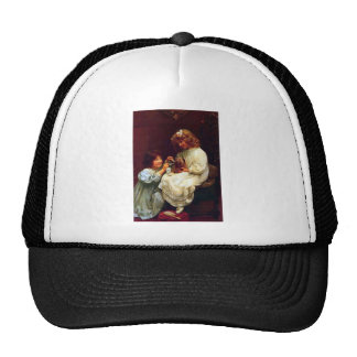 Two Girls Sisters Pet Dog Antique Painting Trucker Hat