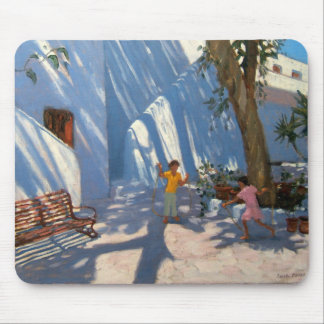 Two girls skipping Mykonos Mouse Pad