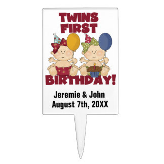 Two Girls Twins First Birthday Cake Topper