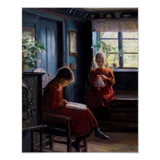 Two Girls Vintage Fine Art Poster