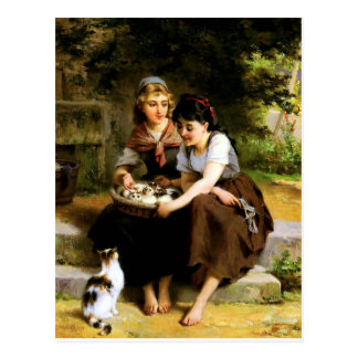 Two Girls with Kittens painting Postcard