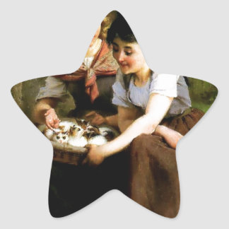 Two Girls with Kittens painting Star Sticker