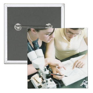 Two Girls with Microscope 2 Inch Square Button