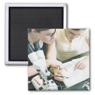 Two Girls with Microscope Refrigerator Magnets