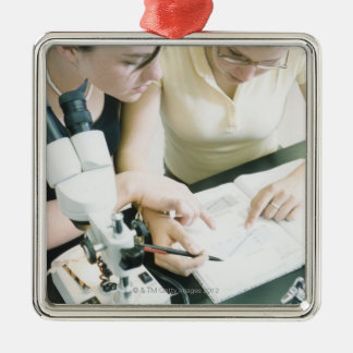 Two Girls with Microscope Metal Ornament