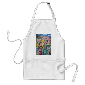 Two Girls with Parasols Adult Apron