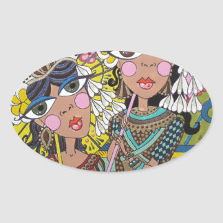 Two Girls with Parasols Oval Sticker