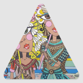 Two Girls with Parasols Triangle Sticker