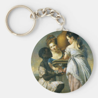 Two Girls with their Black Servant Basic Round Button Keychain