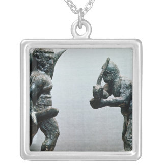 Two gladiators in combat square pendant necklace