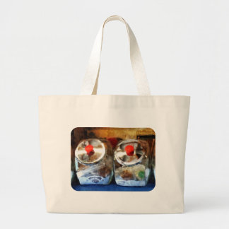 Two Glass Cookie Jars Canvas Bags