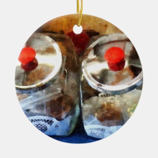 Two Glass Cookie Jars Christmas Tree Ornament