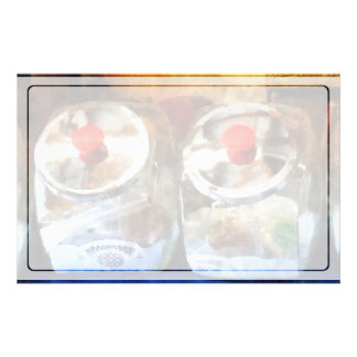 Two Glass Cookie Jars Stationery Paper