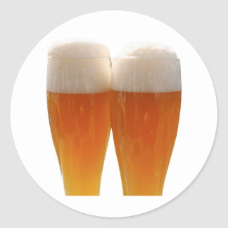 Two glasses of German weisse beer Classic Round Sticker