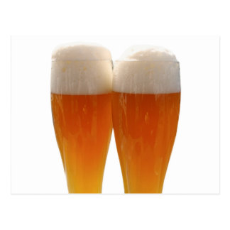 Two glasses of German weisse beer Postcard