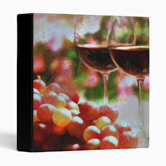 Two Glasses of Wine with Grapes 3 Ring Binders