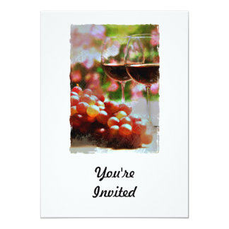 """Two Glasses of Wine with Grapes 5"""" X 7"""" Invitation Card"""
