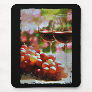 Two Glasses of Wine with Grapes Mouse Pad