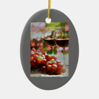 Two Glasses of Wine with Grapes Ornament