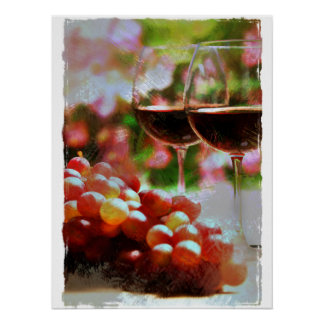 Two Glasses of Wine with Grapes Posters