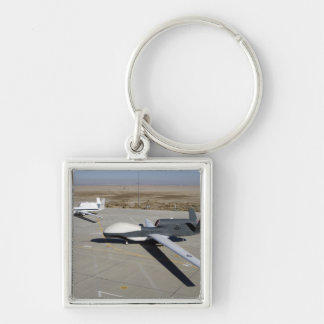 Two Global Hawks parked on a ramp Silver-Colored Square Keychain