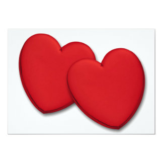 Two glossy red hearts card
