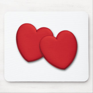 Two glossy red hearts mouse pad
