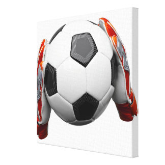 Two goal keepers gloves holding a football canvas print