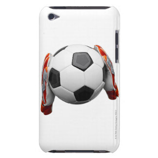 Two goal keepers gloves holding a football iPod touch cases
