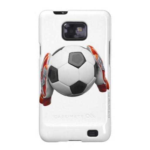 Two goal keepers gloves holding a football galaxy s2 cases