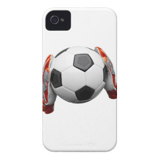 Two goal keepers gloves holding a football iPhone 4 case