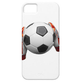 Two goal keepers gloves holding a football iPhone SE/5/5s case