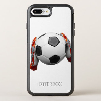 Two goal keepers gloves holding a football OtterBox symmetry iPhone 7 plus case